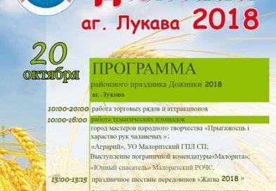"""Районный праздник """"Дожинки-2018"""" состоится в агрогородке Луково 20 октября."""