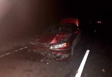 В Малоритском районе брёвна с лесовоза примяли автомобиль